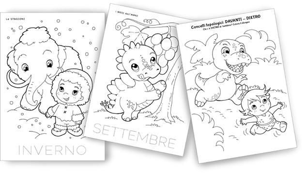 disegni da colorare preistoria per bambini