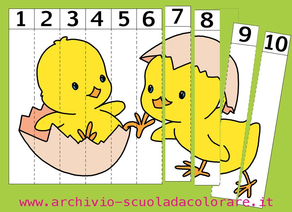 puzzle da colorare numerati